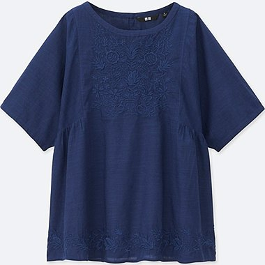 WOMEN COTTON LAWN SHORT SLEEVE T BLOUSE, BLUE, medium