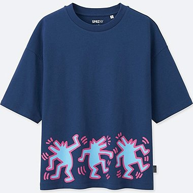 WOMEN SPRZ SHORT SLEEVE GRAPHIC T-SHIRT (KEITH HARING), BLUE, medium
