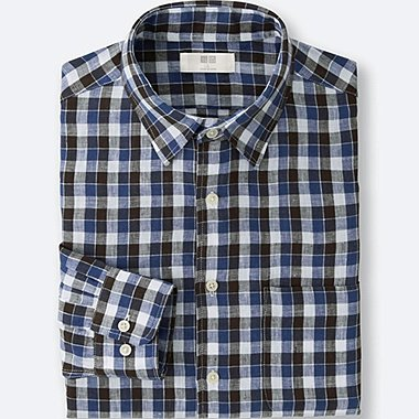 MEN PREMIUM LINEN CHECKED LONG SLEEVE SHIRT, BLUE, medium