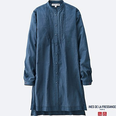 WOMEN IDLF COTTON LAWN PIN TUCK LONG-SLEEVE TUNIC, BLUE, medium