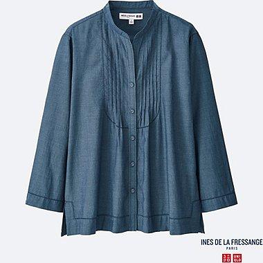 WOMEN INES Cotton Lawn Pin Tuck 3/4 Sleeve Shirt