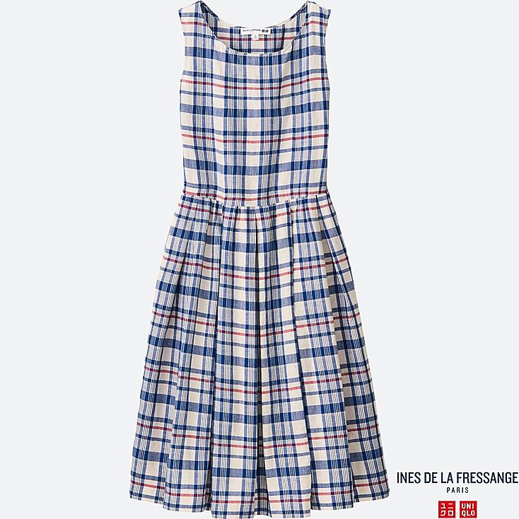 WOMEN INES Linen Cotton Check Dress
