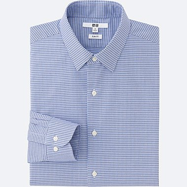MEN EASY CARE SLIM FIT CHECKED LONG SLEEVE SHIRT, BLUE, medium