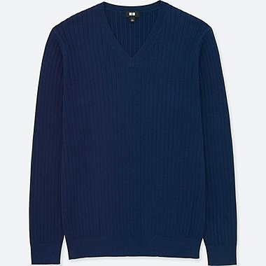 MEN COTTON CASHMERE V-NECK LONG-SLEEVE SWEATER, BLUE, medium
