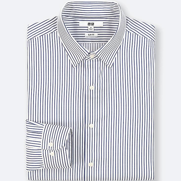 MEN EASY CARE STRIPED STRETCH SLIM FIT SHIRT (NO POCKET)