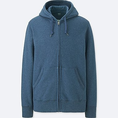 MEN LONG-SLEEVE SWEAT FULL-ZIP HOODIE, BLUE, medium