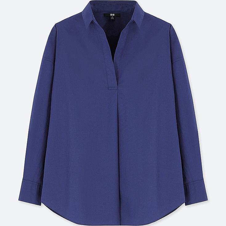 WOMEN EXTRA FINE COTTON LONG SLEEVE SHIRT, BLUE, large