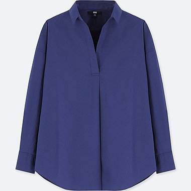 WOMEN EXTRA FINE COTTON LONG SLEEVE SHIRT, BLUE, medium