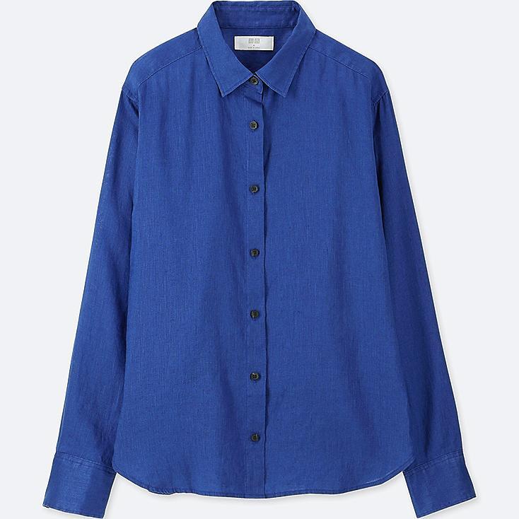 WOMEN PREMIUM LINEN LONG-SLEEVE SHIRT, BLUE, large