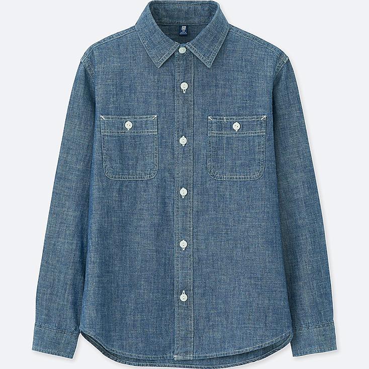 Boys chambray long sleeve shirt uniqlo us for Chambray shirt for kids