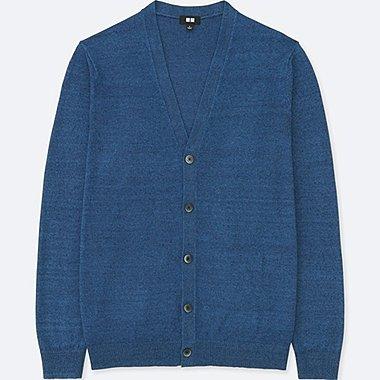 MEN LINEN BLEND V-NECK LONG-SLEEVE CARDIGAN, BLUE, medium