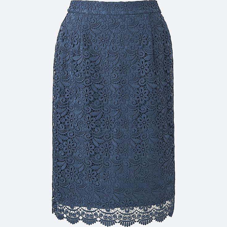 WOMEN LACE SKIRT, BLUE, large