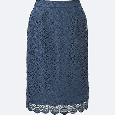 WOMEN LACE SKIRT, BLUE, medium