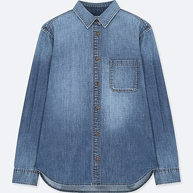 WOMEN DENIM LONG SLEEVE SHIRT 100% cotton