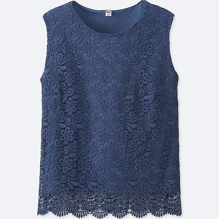 WOMEN LACE SLEEVELESS T-SHIRT, BLUE, large