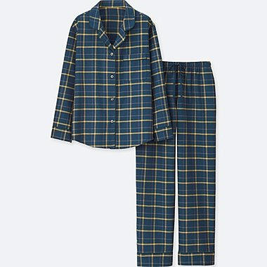 WOMEN LONG-SLEEVE CHECK FLANNEL PAJAMAS, BLUE, medium