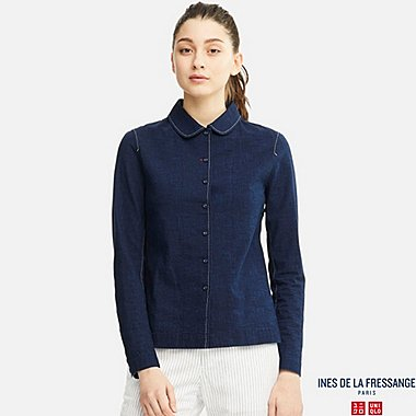 WOMEN INES 100% COTTON DENIM LONG SLEEVE SHIRT