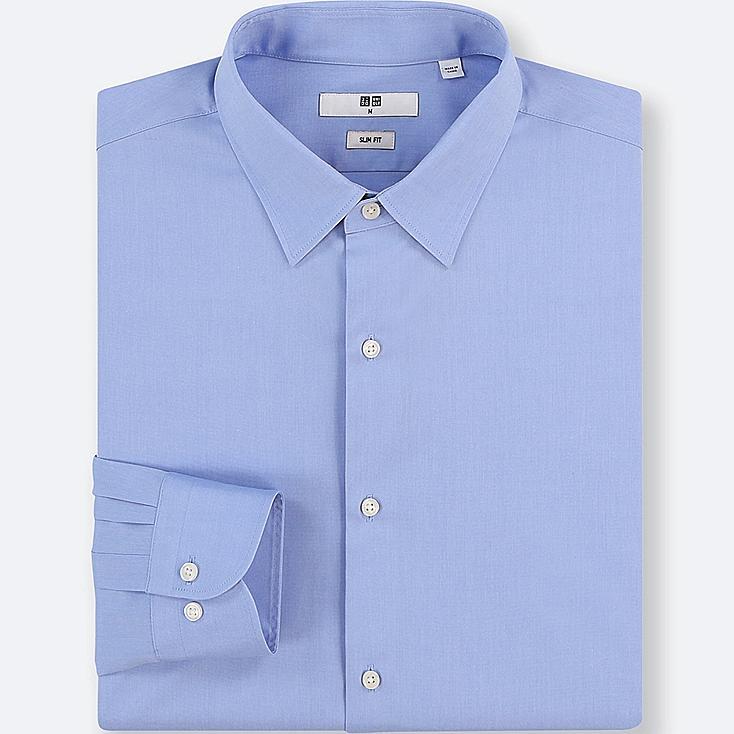MEN EASY CARE STRETCH SLIM-FIT LONG-SLEEVE SHIRT, BLUE, large