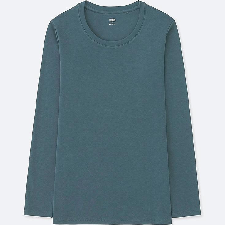 WOMEN COMPACT COTTON CREW NECK LONG-SLEEVE T-SHIRT, BLUE, large