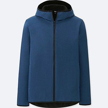 MEN WINDPROOF FLEECE LONG-SLEEVE FULL-ZIP HOODIE (ONLINE EXCLUSIVE), BLUE, medium