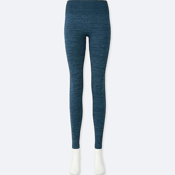 WOMEN HEATTECH SEAMLESS LEGGINGS, BLUE, large