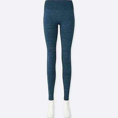 WOMEN HEATTECH SEAMLESS LEGGINGS, BLUE, medium