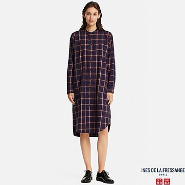WOMEN SOFT FLANNEL LONG-SLEEVE DRESS (INES DE LA FRESSANGE), BLUE, medium