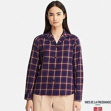 WOMEN SOFT FLANNEL SHIRT (INES DE LA FRESSANGE), BLUE, medium