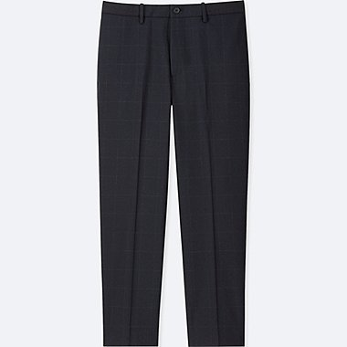 MEN EZY ANKLE-LENGTH PANTS (WINDOWPANE), BLUE, medium