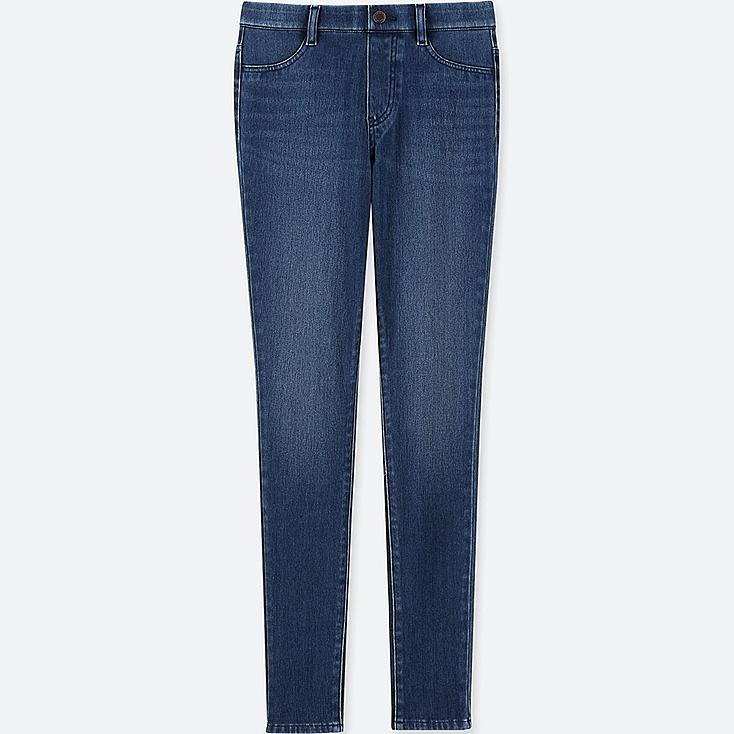 WOMEN DENIM LEGGINGS PANTS, BLUE, large