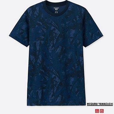 MEN DRY-EX SHORT-SLEEVE GRAPHIC T-SHIRT (MEGURU YAMAGUCHI), BLUE, medium