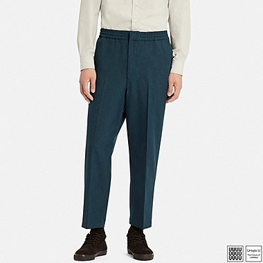 MEN U RELAXED WIDE-FIT ANKLE-LENGTH PANTS, BLUE, medium