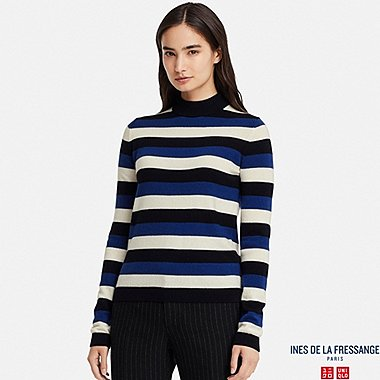 WOMEN CASHMERE STRIPED SWEATER (INES DE LA FRESSANGE), BLUE, medium
