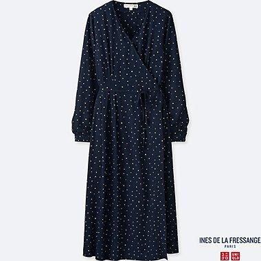 WOMEN INES GEORGETTE WRAP LONG SLEEVE DRESS