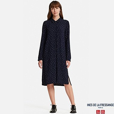 WOMEN GEORGETTE LONG-SLEEVE SHIRT DRESS (INES DE LA FRESSANGE), BLUE, medium