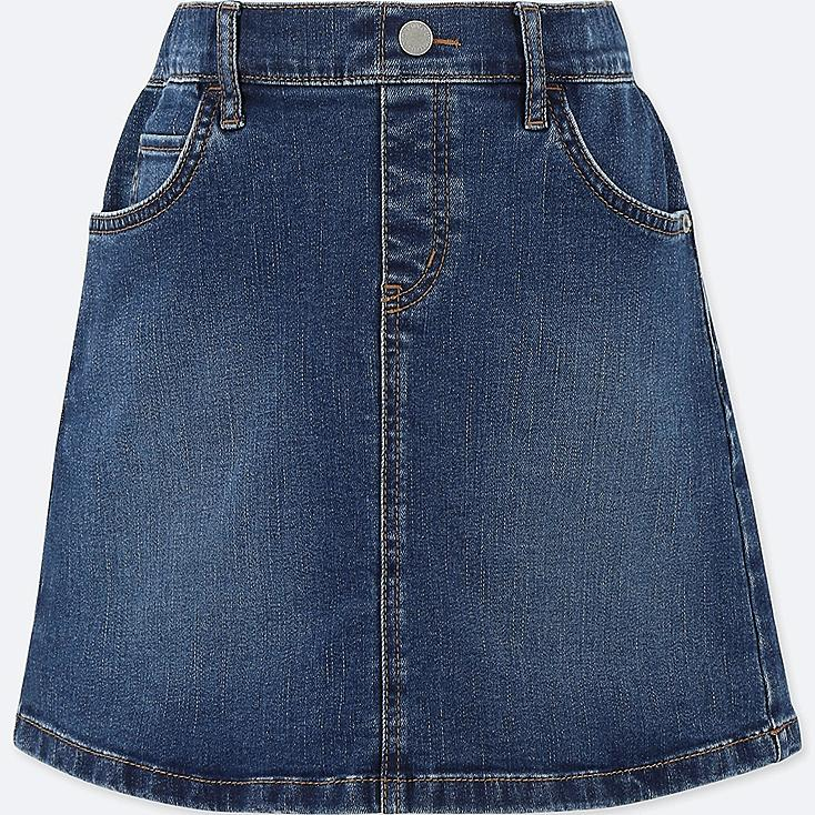 GIRLS DENIM SKIRT, BLUE, large