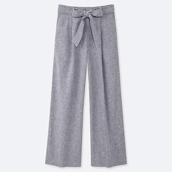 WOMEN BELTED LINEN COTTON WIDE STRAIGHT PANTS, BLUE, large