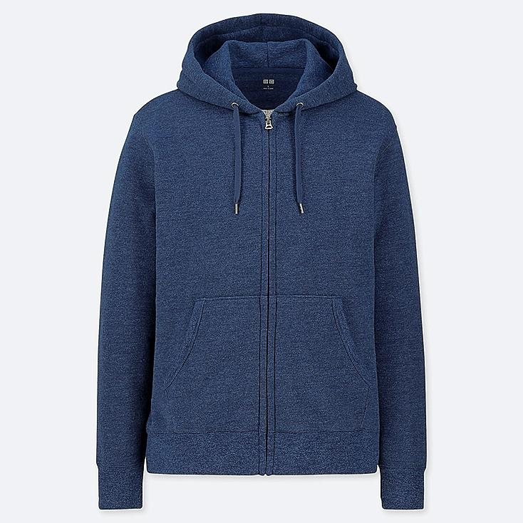 MEN LONG-SLEEVE FULL-ZIP HOODED SWEATSHIRT, BLUE, large