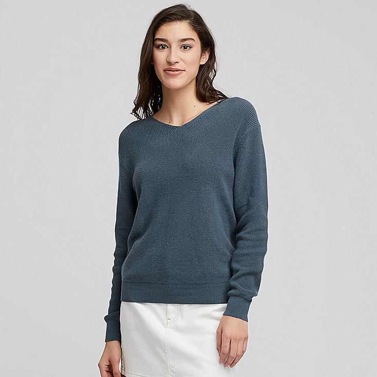 WOMEN COTTON CASHMERE V-NECK SWEATER, BLUE, large