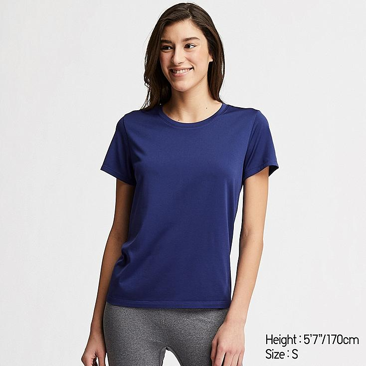 WOMEN DRY-EX CREW NECK SHORT-SLEEVE T-SHIRT, BLUE, large