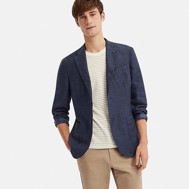 MEN LINEN COTTON SLIM-FIT JACKET, BLUE, large