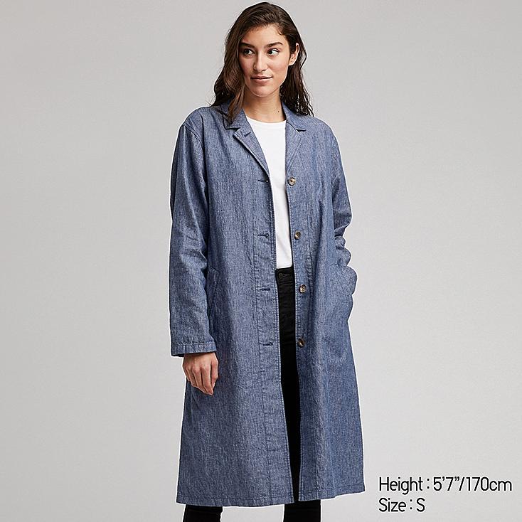WOMEN LINEN BLEND COAT, BLUE, large