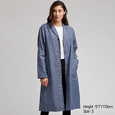 WOMEN LINEN BLEND COAT, BLUE, medium