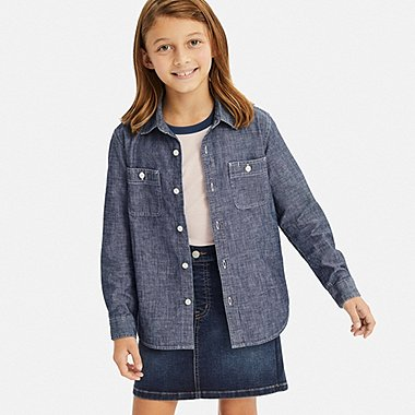KIDS CHAMBRAY LONG-SLEEVE SHIRT, BLUE, medium