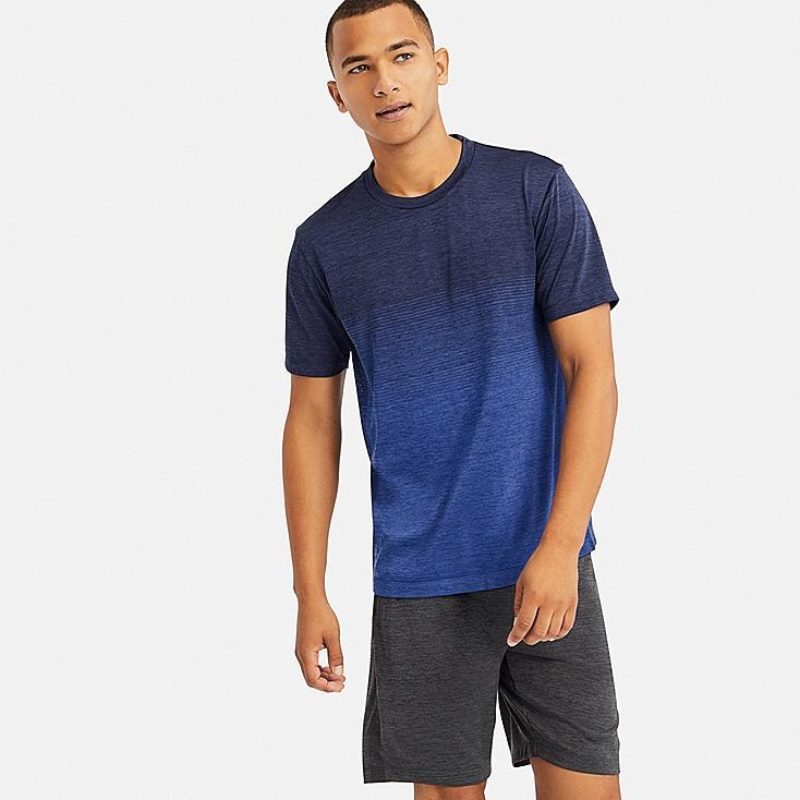 MEN DRY-EX CREW NECK SHORT-SLEEVE T-SHIRT, BLUE, large