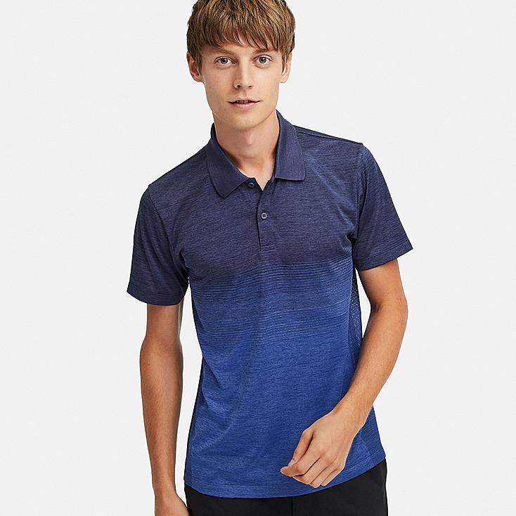MEN DRY-EX SHORT-SLEEVE POLO SHIRT, BLUE, large
