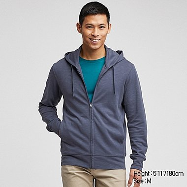 MEN AIRism UV CUT LONG-SLEEVE FULL-ZIP HOODIE, BLUE, medium