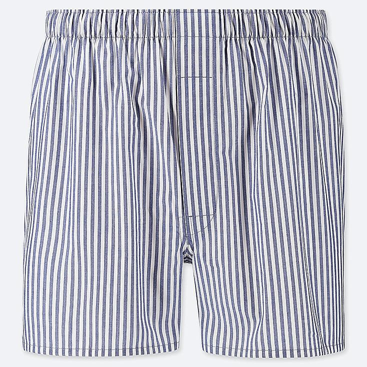 MEN WOVEN STRIPED BOXERS, BLUE, large