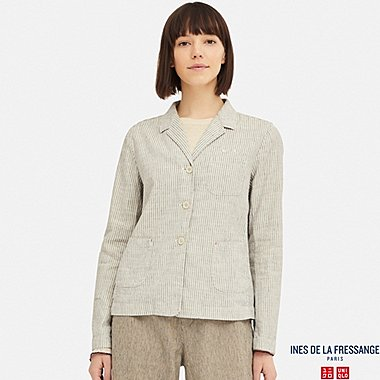 WOMEN LINEN COTTON SHIRT JACKET (INES DE LA FRESSANGE), BLUE, medium