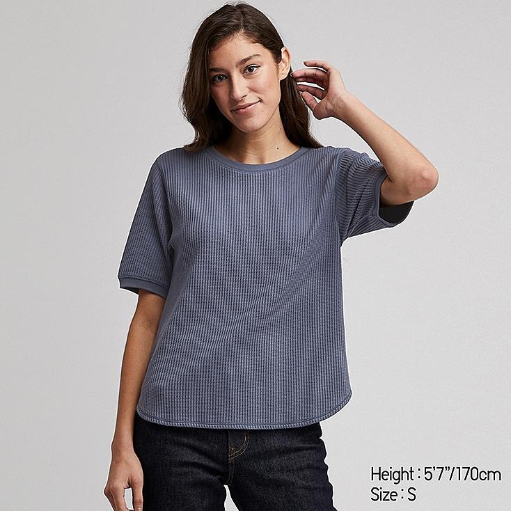 WOMEN WAFFLE CREW NECK SHORT-SLEEVE T-SHIRT, BLUE, large